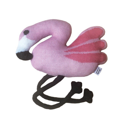 Homely Creatures Knitted Flamingo-Cushion-BabyDonkie