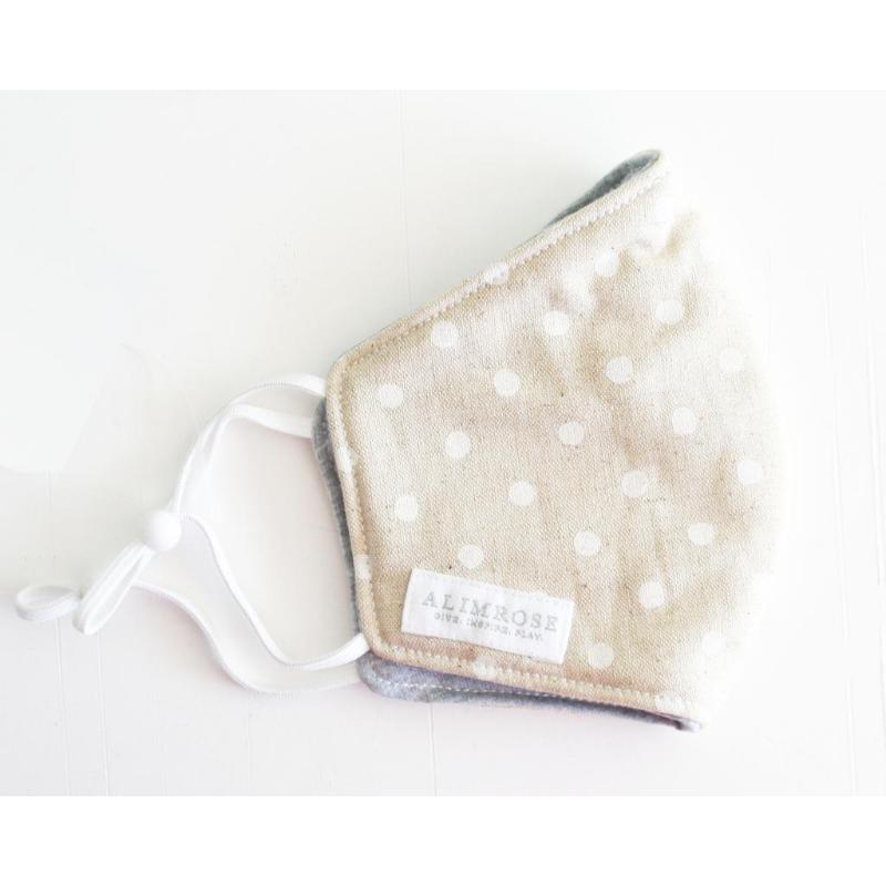 3 Layer Face Mask - Linen Ivory Spot (Youth)-BabyDonkie
