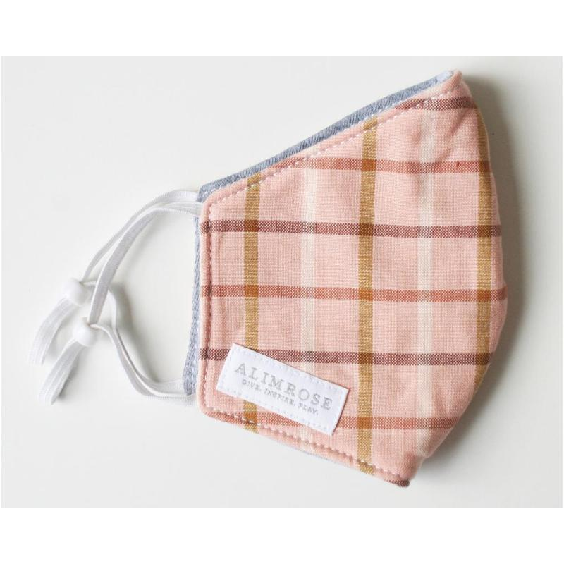 3 Layer Face Mask - Pink Plaid (Youth)-BabyDonkie