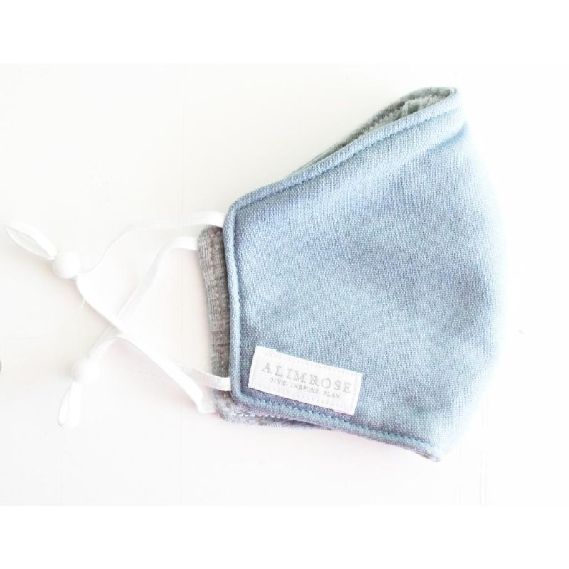 3 Layer Face Mask - Blue Grey Linen (Youth)