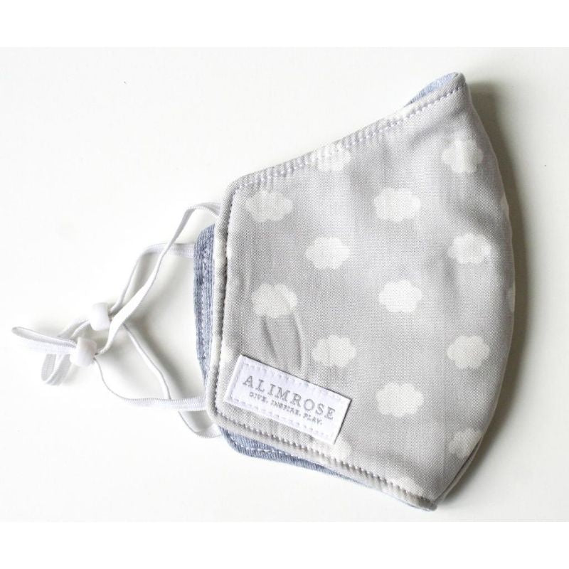 3 Layer Face Mask - Grey Cloud (Youth)-BabyDonkie