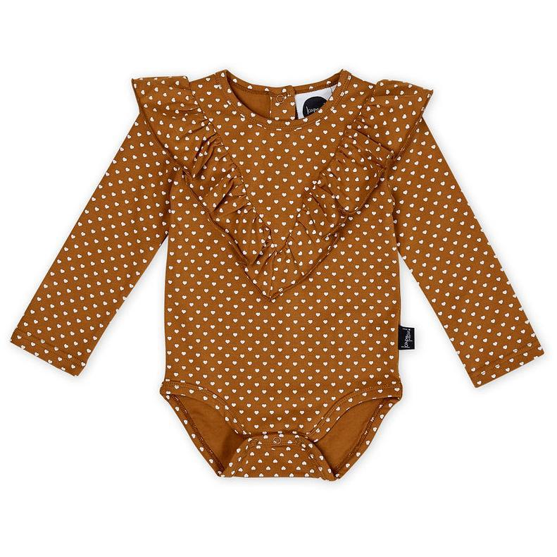 Kapow Kids Straight From The Heart Ruffle Bodysuit-Clothing-BabyDonkie