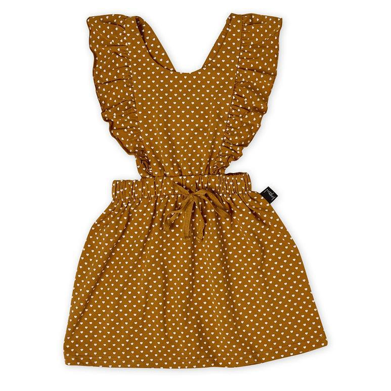 Kapow Kids Straight From The Heart Ruffle Pinafore Dress-BabyDonkie