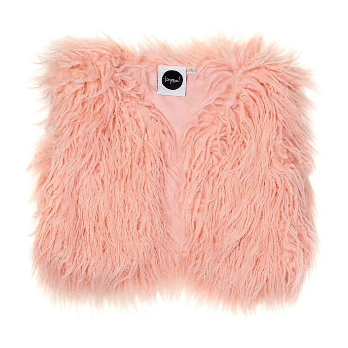 Kapow Kids Rose Shaggy Faux Fur Vest-Clothing-BabyDonkie