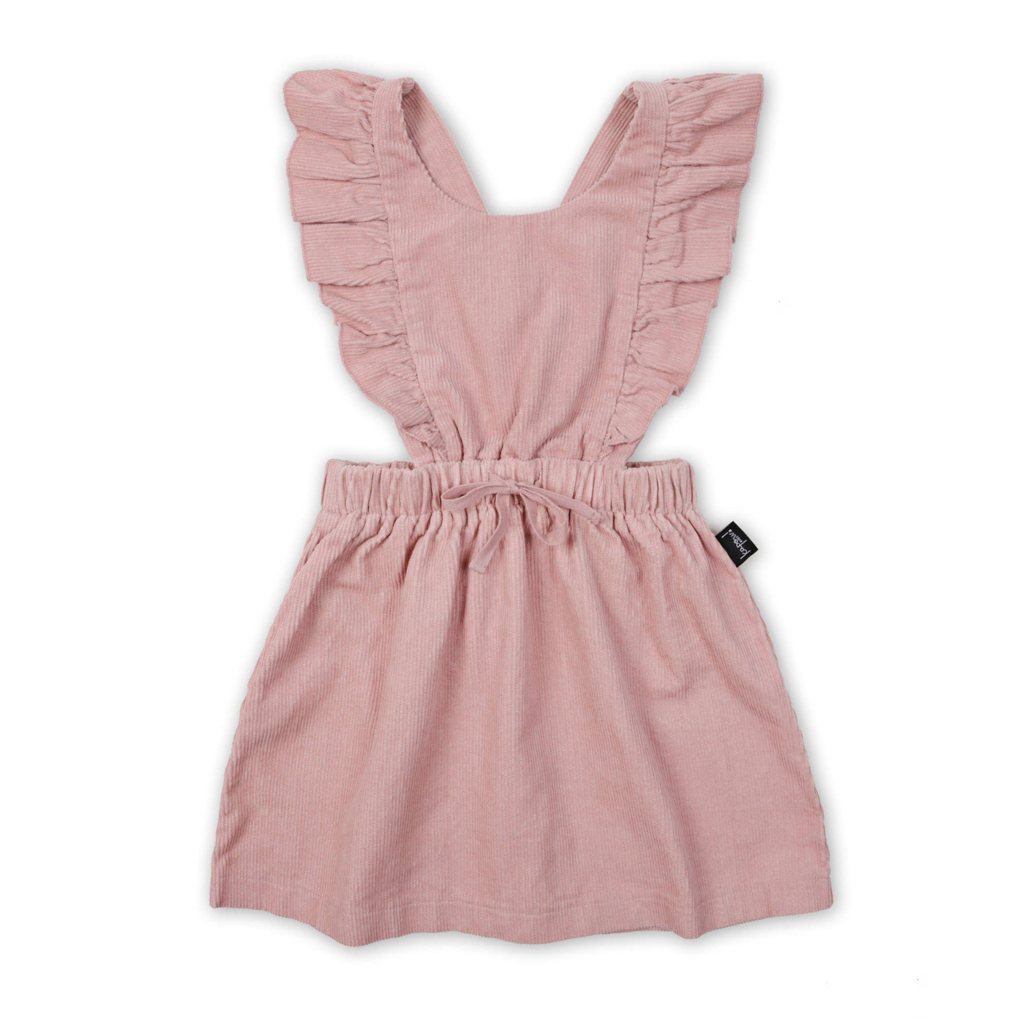 Kapow Kids Dusty Rose Ruffle Corduroy Pinafore Dress-BabyDonkie
