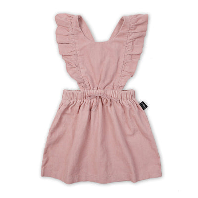 Kapow Kids Dusty Rose Ruffle Corduroy Pinafore Dress-Clothing-BabyDonkie