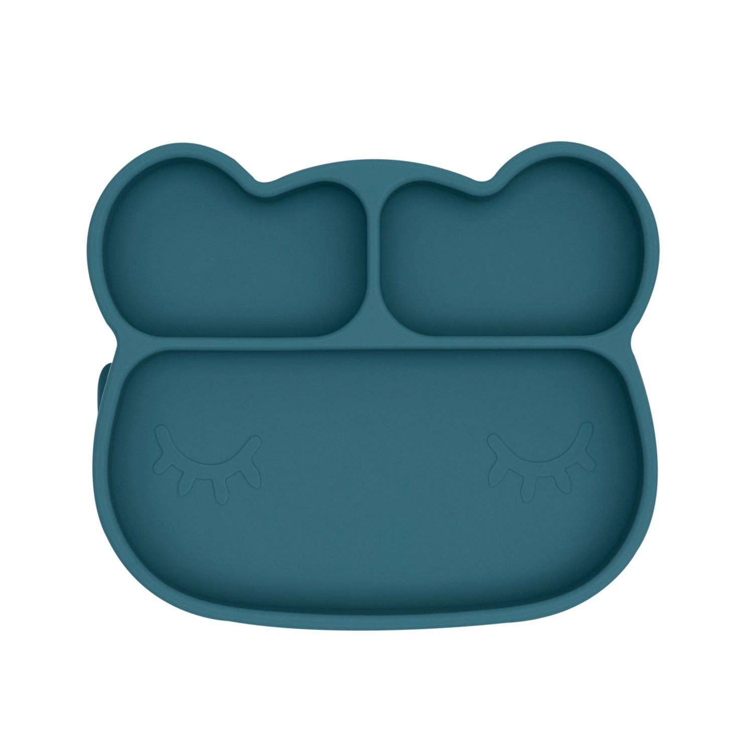 We Might Be Tiny - Bear Stickie Plate - Blue Dusk-Dinnerware-BabyDonkie