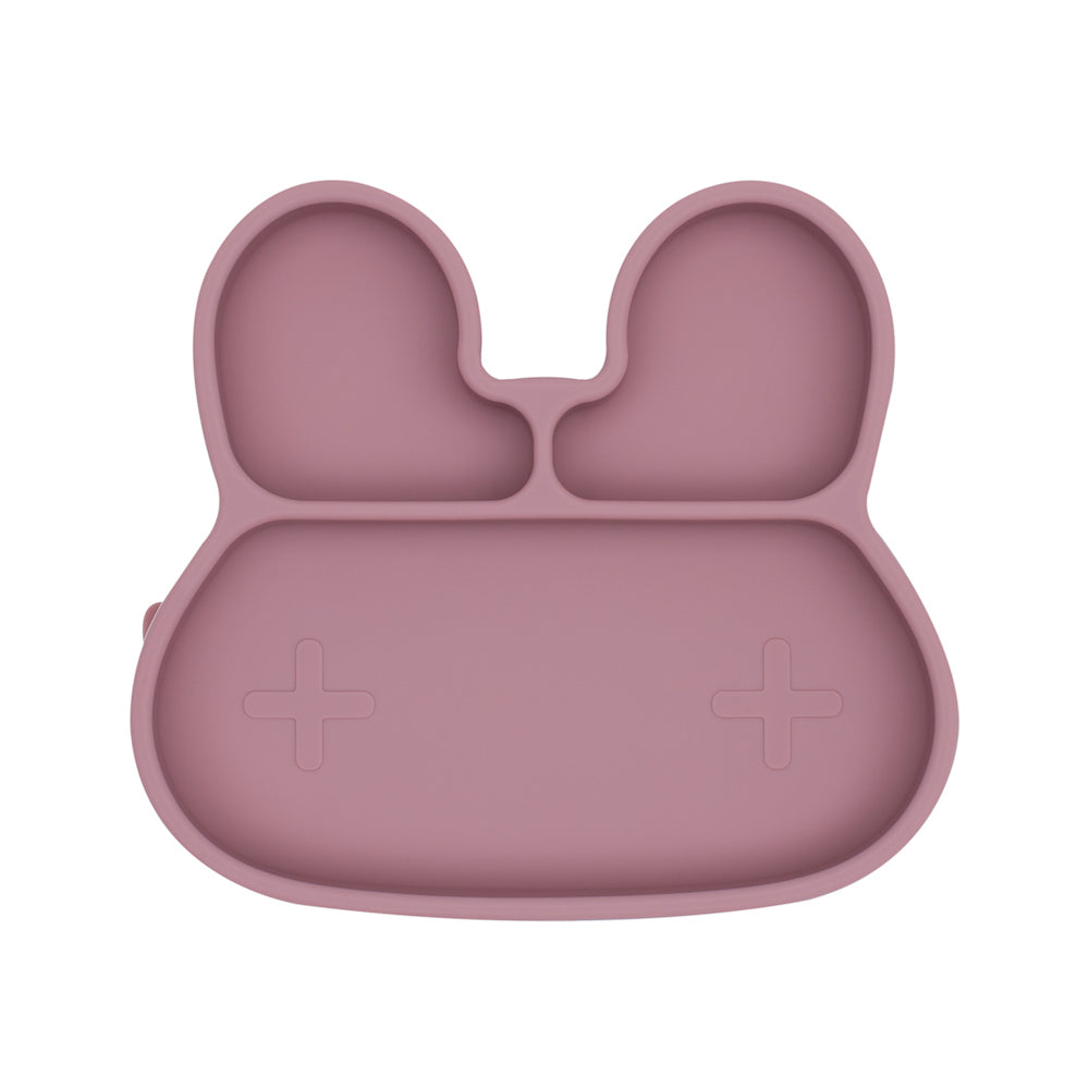 We Might Be Tiny - Bunny Stickie Plate - Dusty Rose-Dinnerware-BabyDonkie