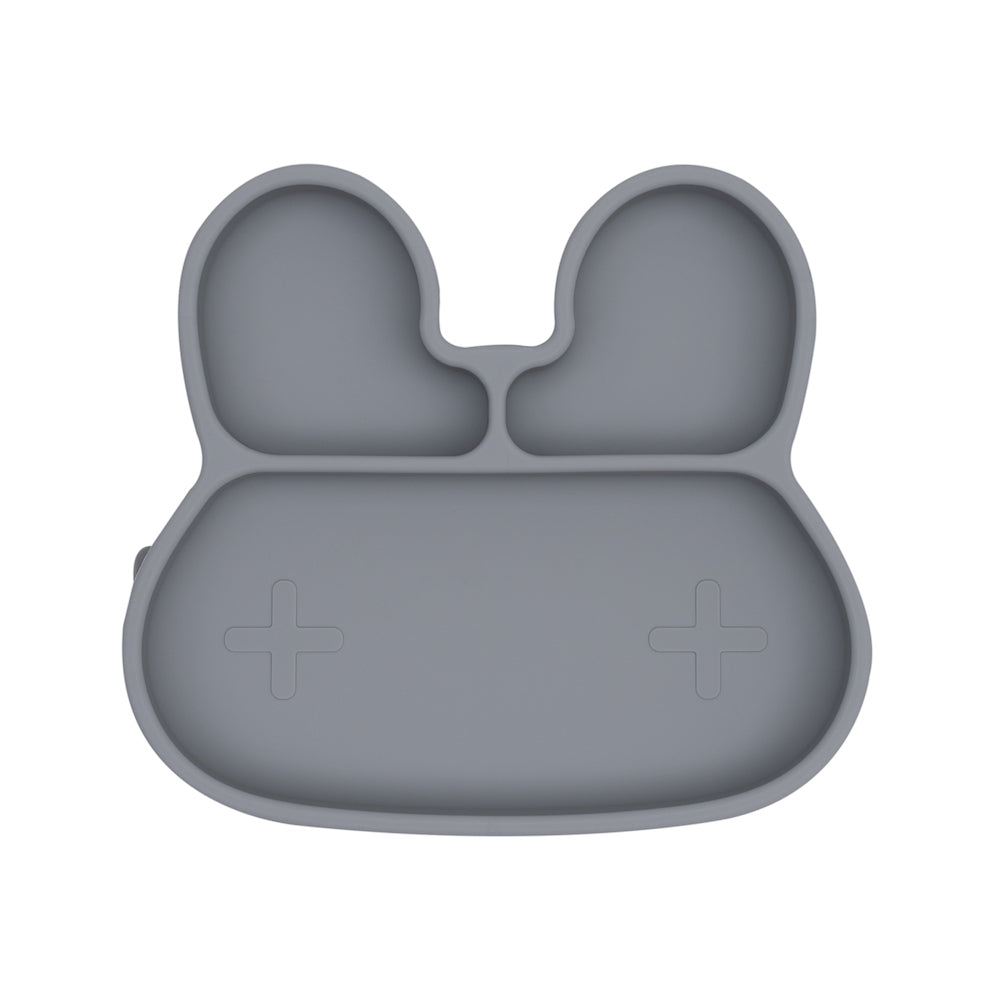 We Might Be Tiny - Bunny Stickie Plate - Grey-Dinnerware-BabyDonkie