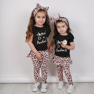 Kapow Kids Leopard is a Neutral Ruffle T-shirt - Black Acid Wash - Baby-Clothing-BabyDonkie