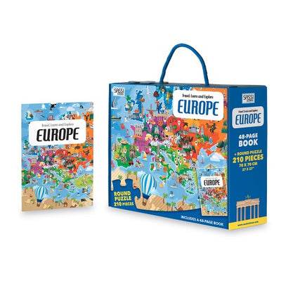 Sassi Travel Learn and Explore - Europe Puzzle & Book Set - 205 pcs-Puzzle-BabyDonkie