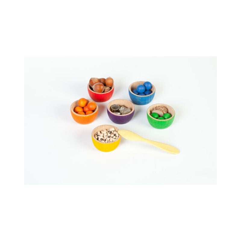Grapat Coloured Bowls and Marbles set-Wooden Toy-BabyDonkie
