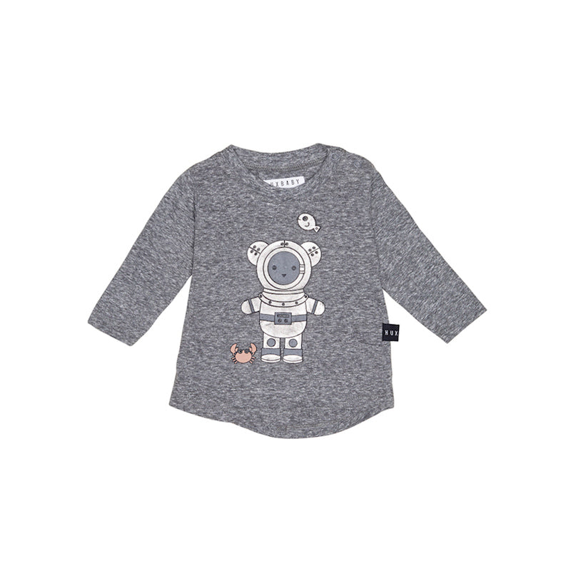 Huxbaby Deep Sea Diver Long Sleeve Top - Charcoal Slub-Clothing-BabyDonkie