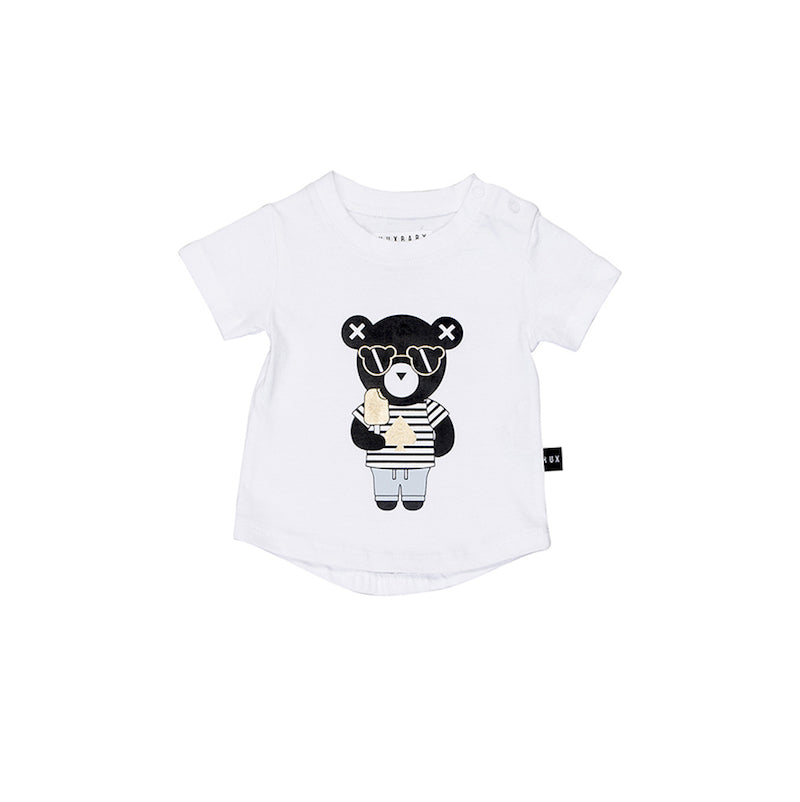 Huxbaby Spade Bear T- Shirt - White-Clothing-BabyDonkie