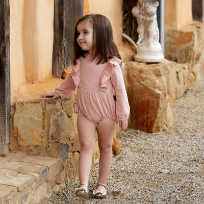 Kapow Kids Dusty Rose Balloon Romper-BabyDonkie