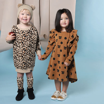 Kapow Kids Leopard Print Sweater Dress-Clothing-BabyDonkie