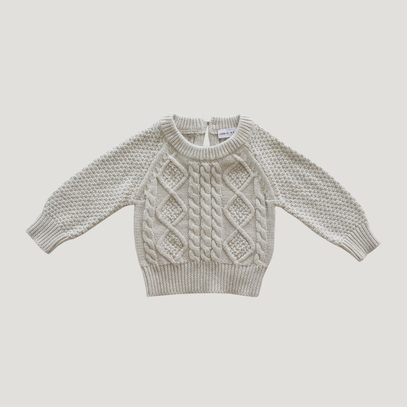 Jamie Kay Cable Knit - Oatmeal-Clothing-BabyDonkie