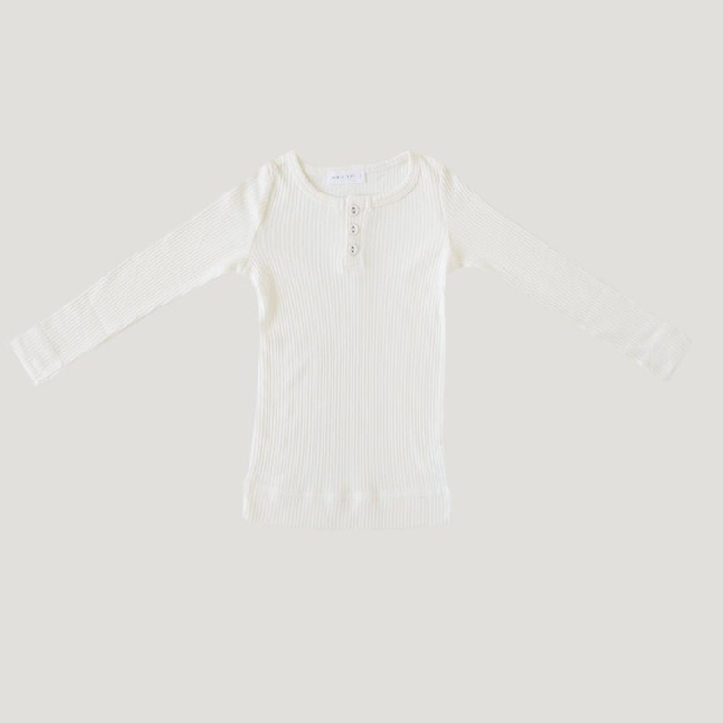 Jamie Kay Cotton Modal Henley - Milk-Clothing-BabyDonkie