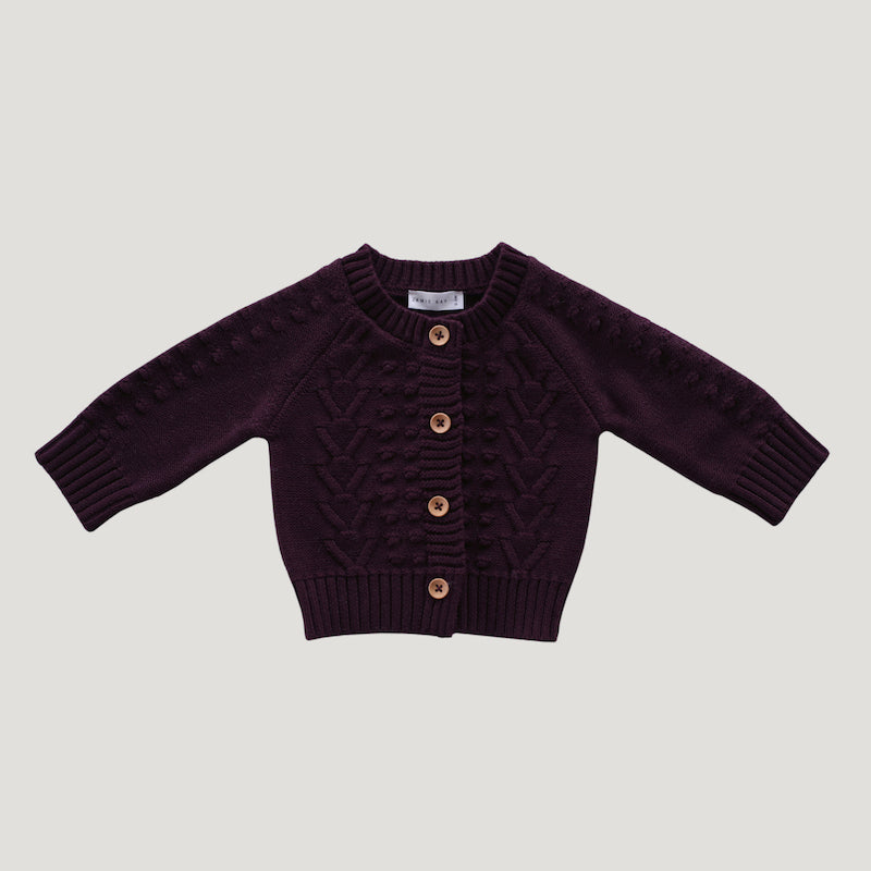Jamie Kay Cable Knit Cardigan - Mulberry-Clothing-BabyDonkie
