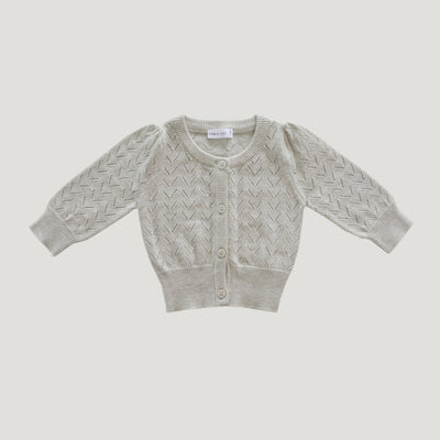 Jamie Kay Cotton Ellie Cardigan - Oatmeal-Clothing-BabyDonkie