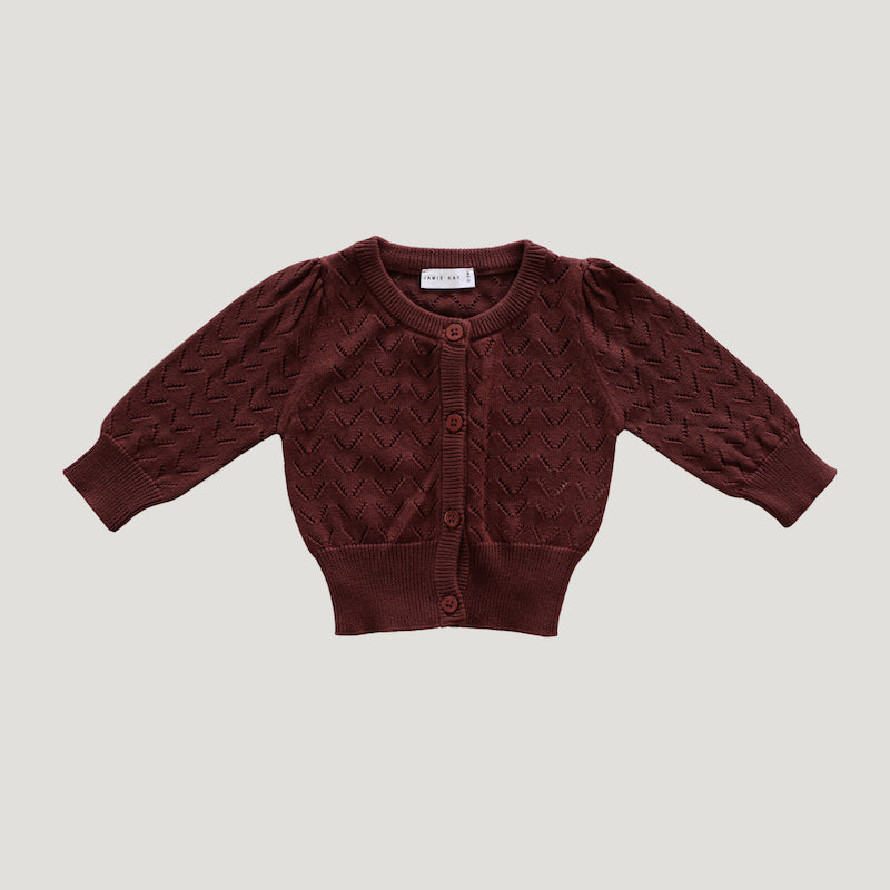 Jamie Kay Cotton Ellie Cardigan - Clay-Clothing-BabyDonkie
