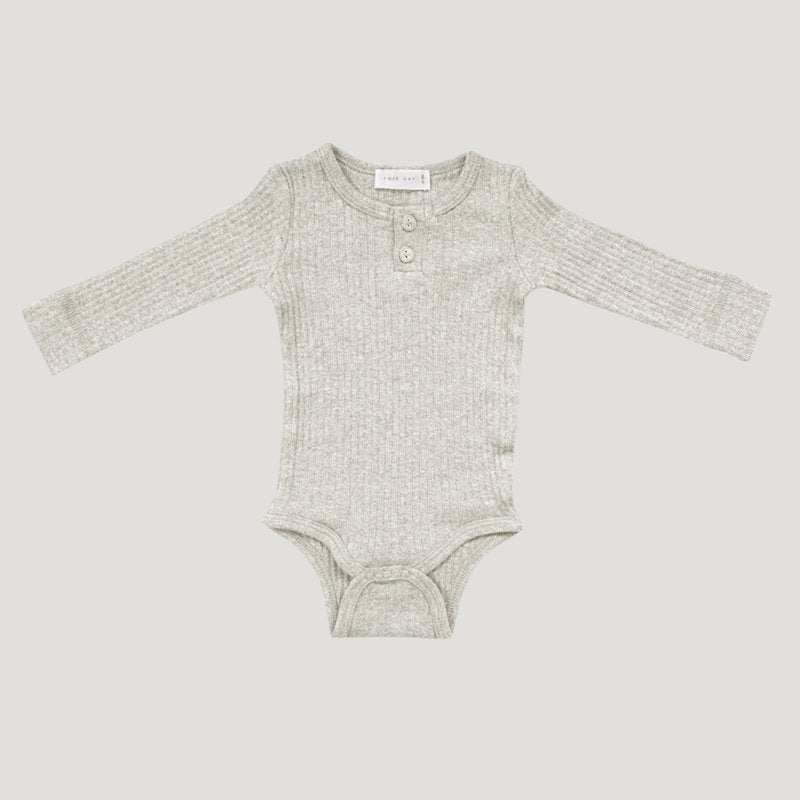 Jamie Kay - Cotton Modal Essentials Bodysuit - Oatmeal Marle-Clothing-BabyDonkie