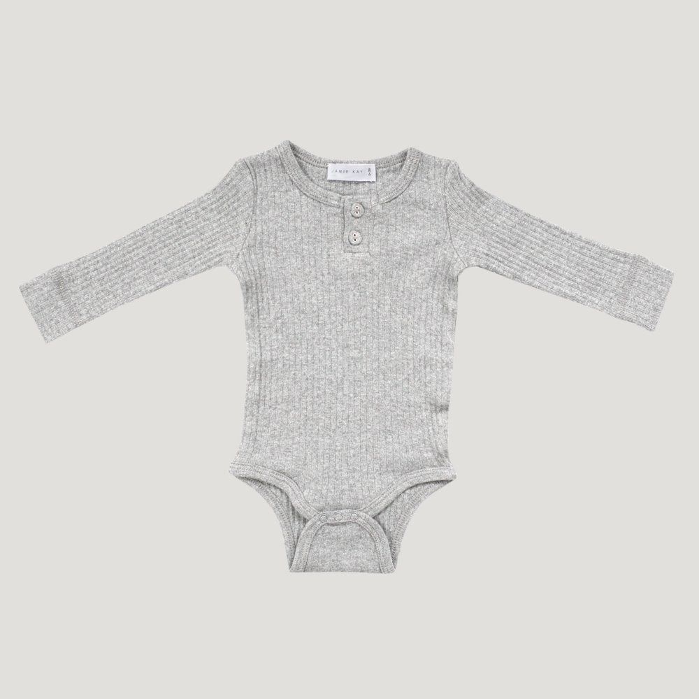 Jamie Kay - Cotton Modal Essentials Bodysuit - Light Grey Marle-Clothing-BabyDonkie