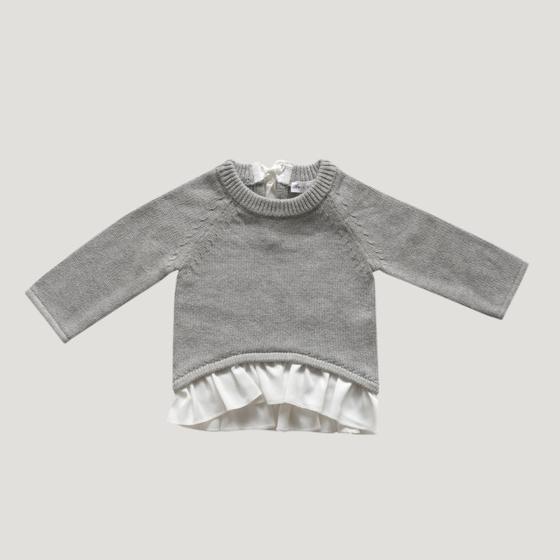 Jamie Kay Frill Knit - Light Grey Marle-Clothing-BabyDonkie