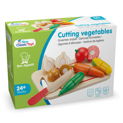 New Classic Toys - Wooden Cutting Meal Vegetables-BabyDonkie