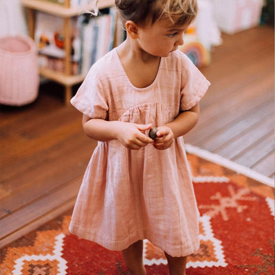 Olli Ella Wares - Clover Toddler Dress - Rose Stripe-BabyDonkie