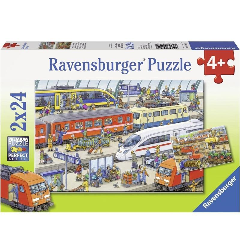Ravensburger Puzzle - Busy Train Station Puzzle 2x24 pieces-Puzzle-BabyDonkie
