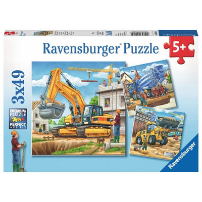 Ravensburger Puzzle - Construction Vehicle Puzzle 3x49 pieces-Puzzle-BabyDonkie