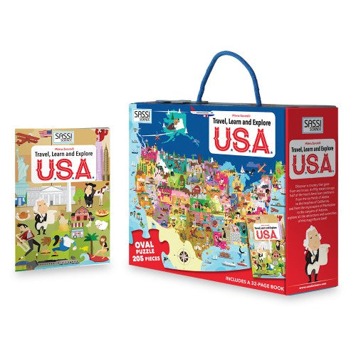 Sassi Travel Learn and Explore - USA Puzzle & Book Set - 205 pcs