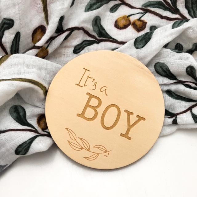 One Chew Three Single Wooden Baby Milestone Plaque - It's a Boy