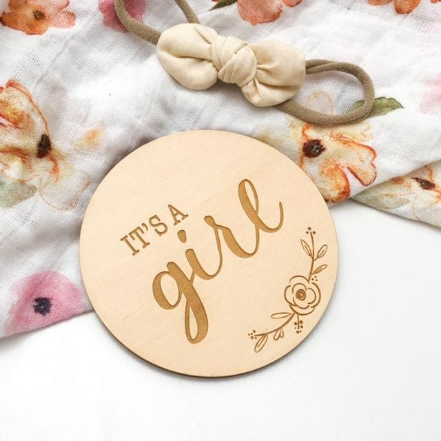 One Chew Three Single Wooden Baby Milestone Plaque - It's a Girl