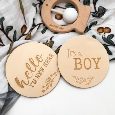 One Chew Three Single Wooden Baby Milestone Plaque - It's a Boy-Accessories-BabyDonkie