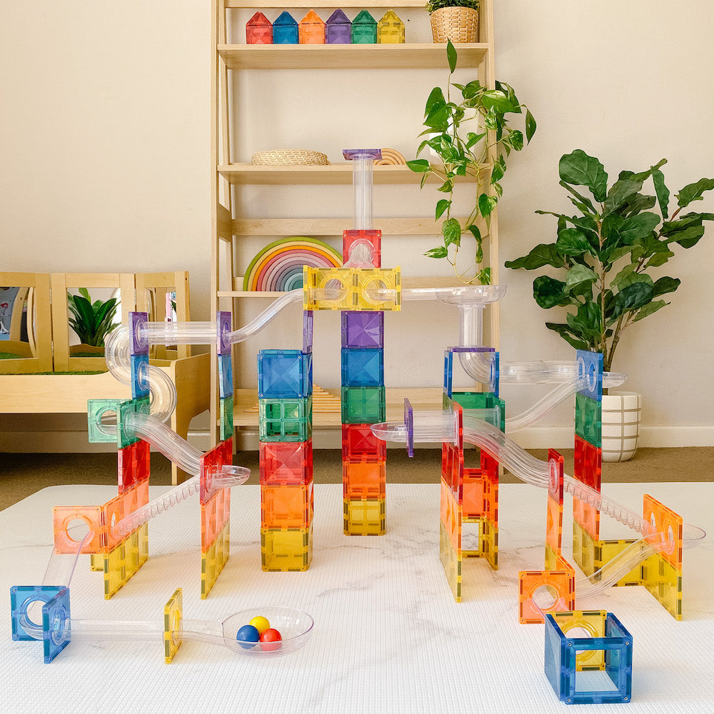 Connetix Tiles - Magnetic Building Tiles - 92 Piece Set Ball Run-BabyDonkie