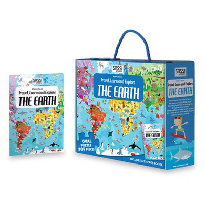Sassi Travel Learn and Explore - The Earth Puzzle & Book Set - 205 pcs-BabyDonkie