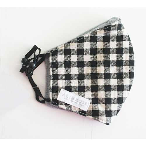 3 Layer Face Mask - Black Check Linen (Youth)