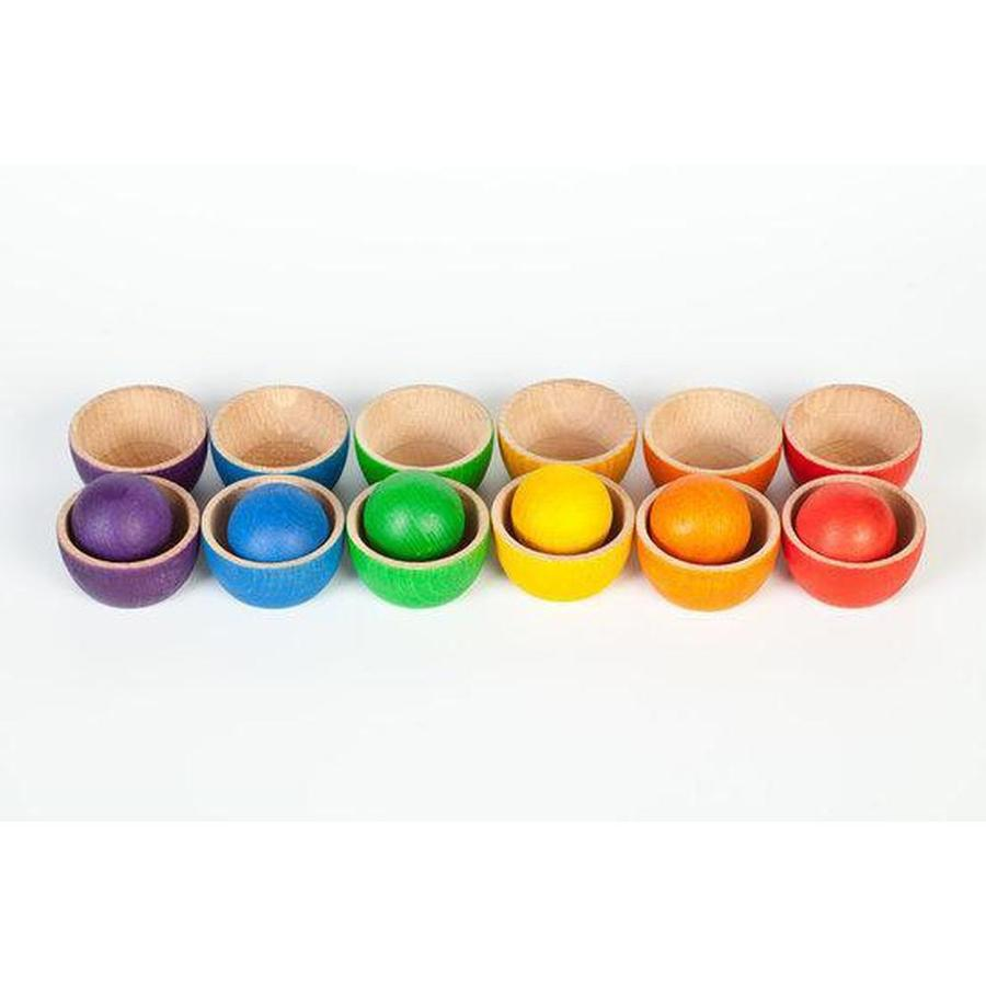 Grapat Coloured Bowls and Balls set-Wooden Toy-BabyDonkie