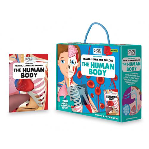 Sassi Travel Learn and Explore - The Human Body Puzzle & Book Set - 205 pcs-BabyDonkie