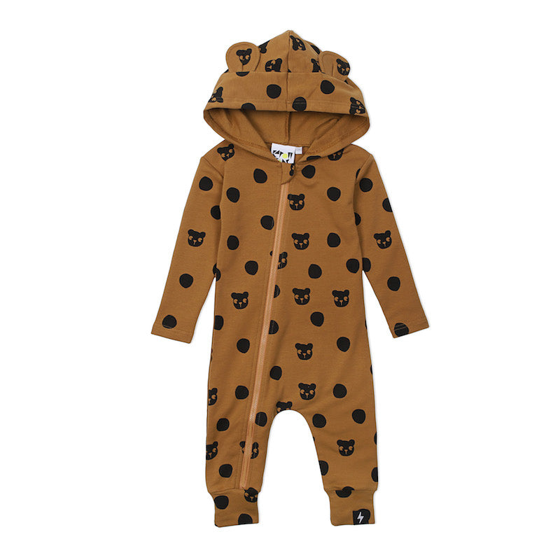 Kapow Kids Spot the Bear Hooded Zip All in one-Clothing-BabyDonkie