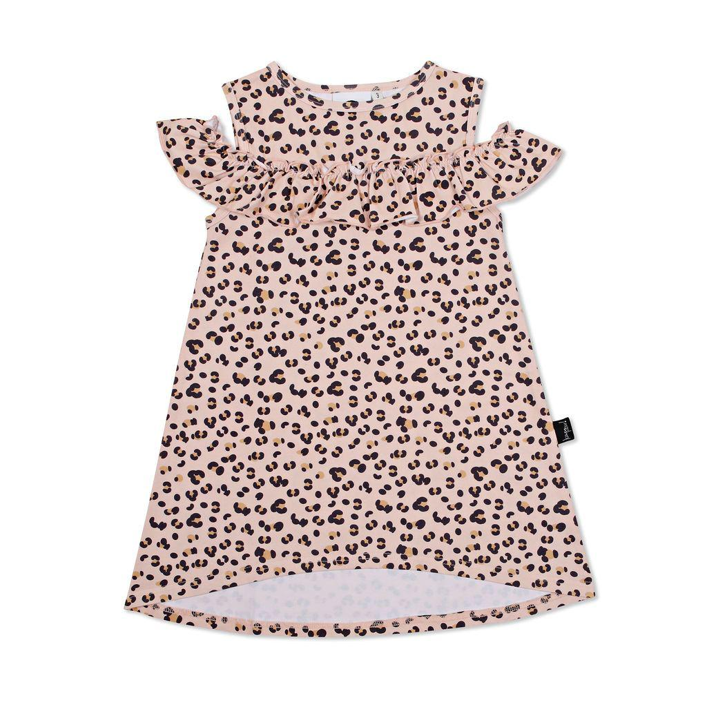 Kapow Kids Cheetah Cold Shoulder Dress-Clothing-BabyDonkie