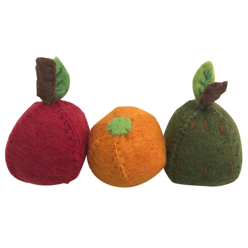 Papoose Toys Felt Fruit - Apple, Pear, Orange-Toys-BabyDonkie