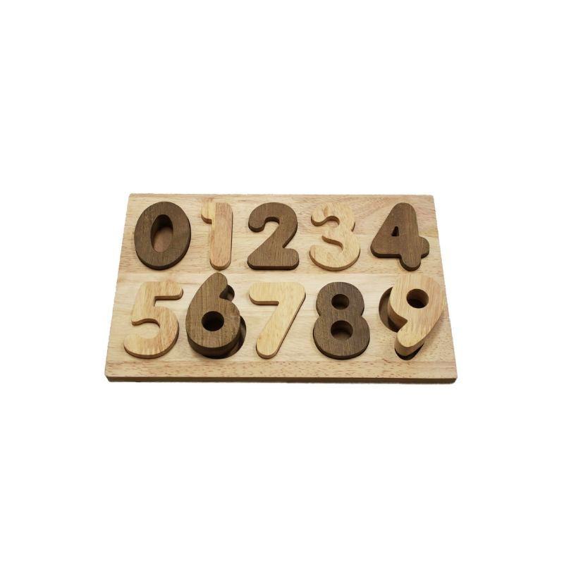 QToys Wooden Natural Number Puzzle-BabyDonkie