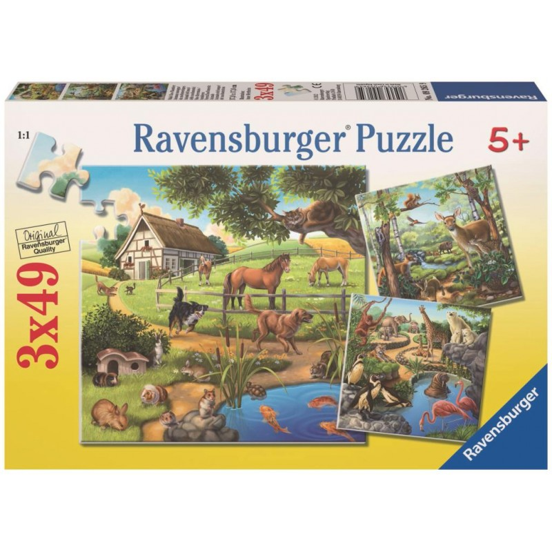 Ravensburger Puzzle - Forest Zoo & Pets Puzzle 3x49 pieces