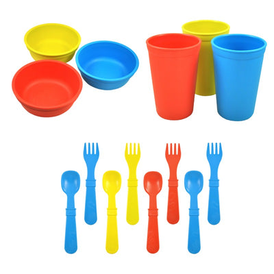 Replay Bowl Tumbler Cup and Utensils Packaged Set - Sky Blue, Yellow, Red-Dinnerware-BabyDonkie