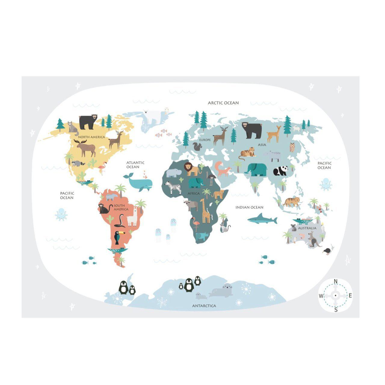Wondermade - Kids World Map Wall Decal - Neutral