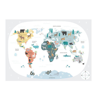 Wondermade - Kids World Map Wall Decal - Neutral-BabyDonkie