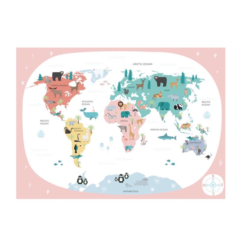Wondermade - Kids World Map Wall Decal - Sweets